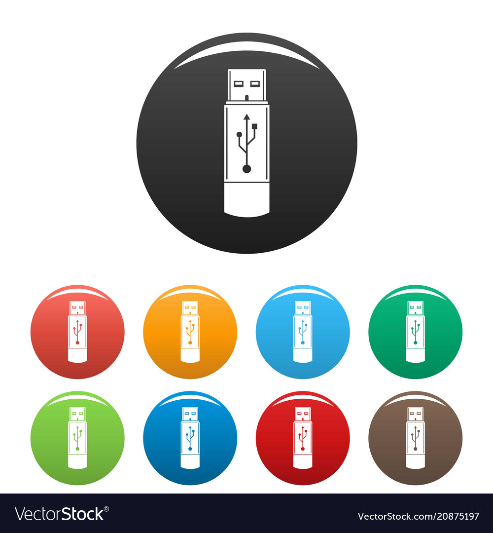 Portable flash drive icons set color