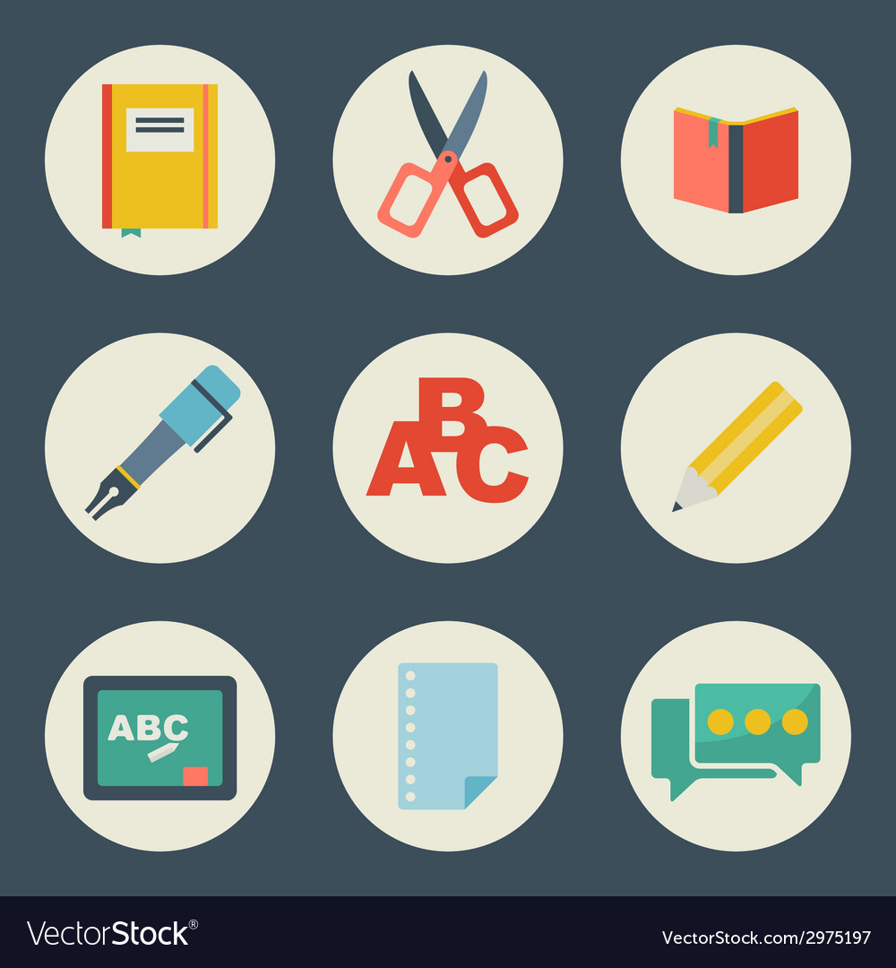 School and education icons flat design set
