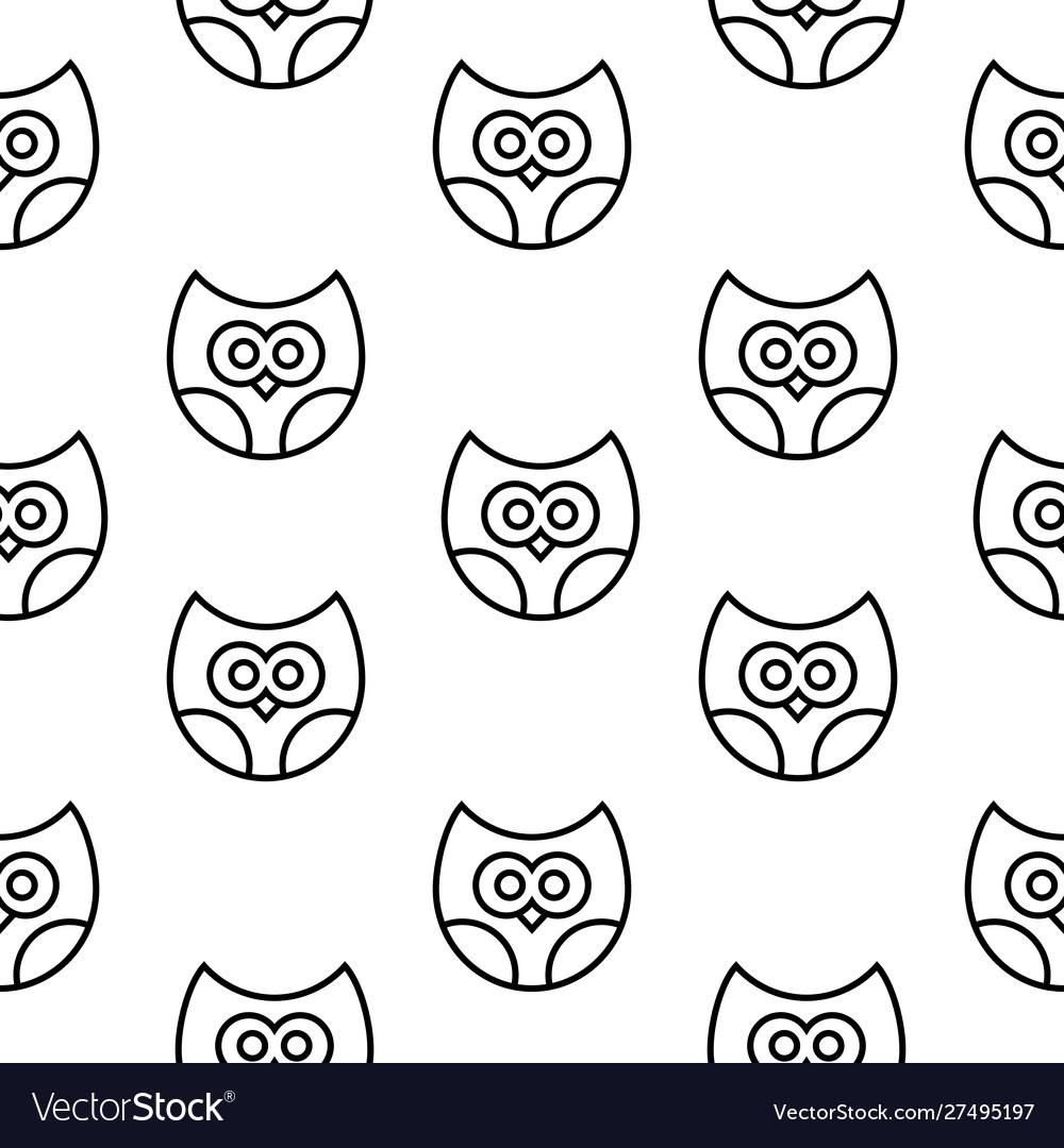 Seamless pattern with owls in line style