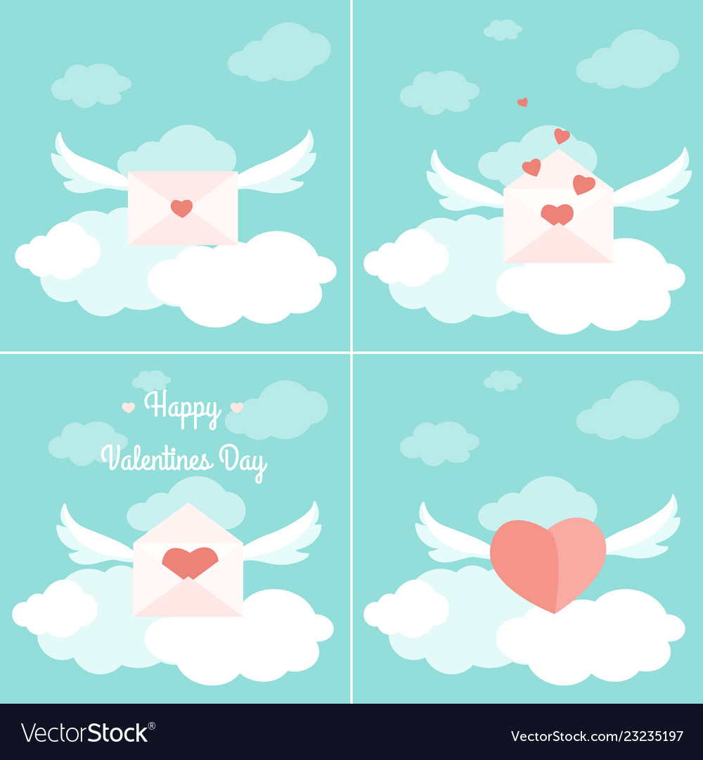 Valentine day greetings delivery concept set