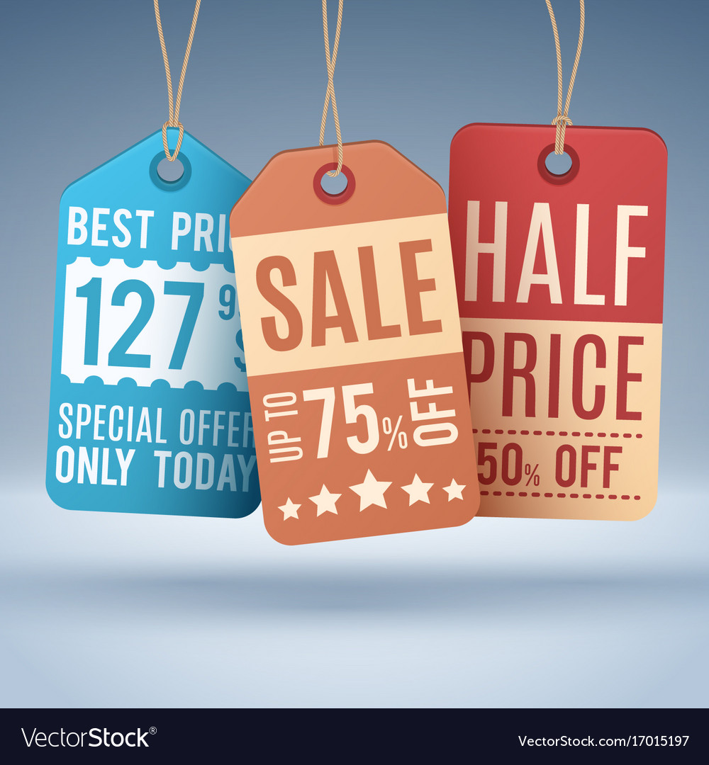 Vintage hanging price tags or sale labels