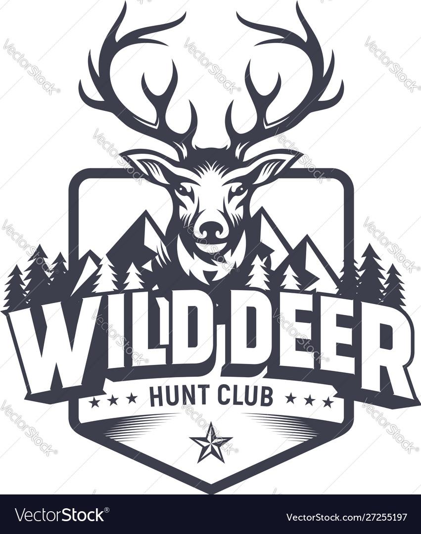 Wild deer vintage logo badge