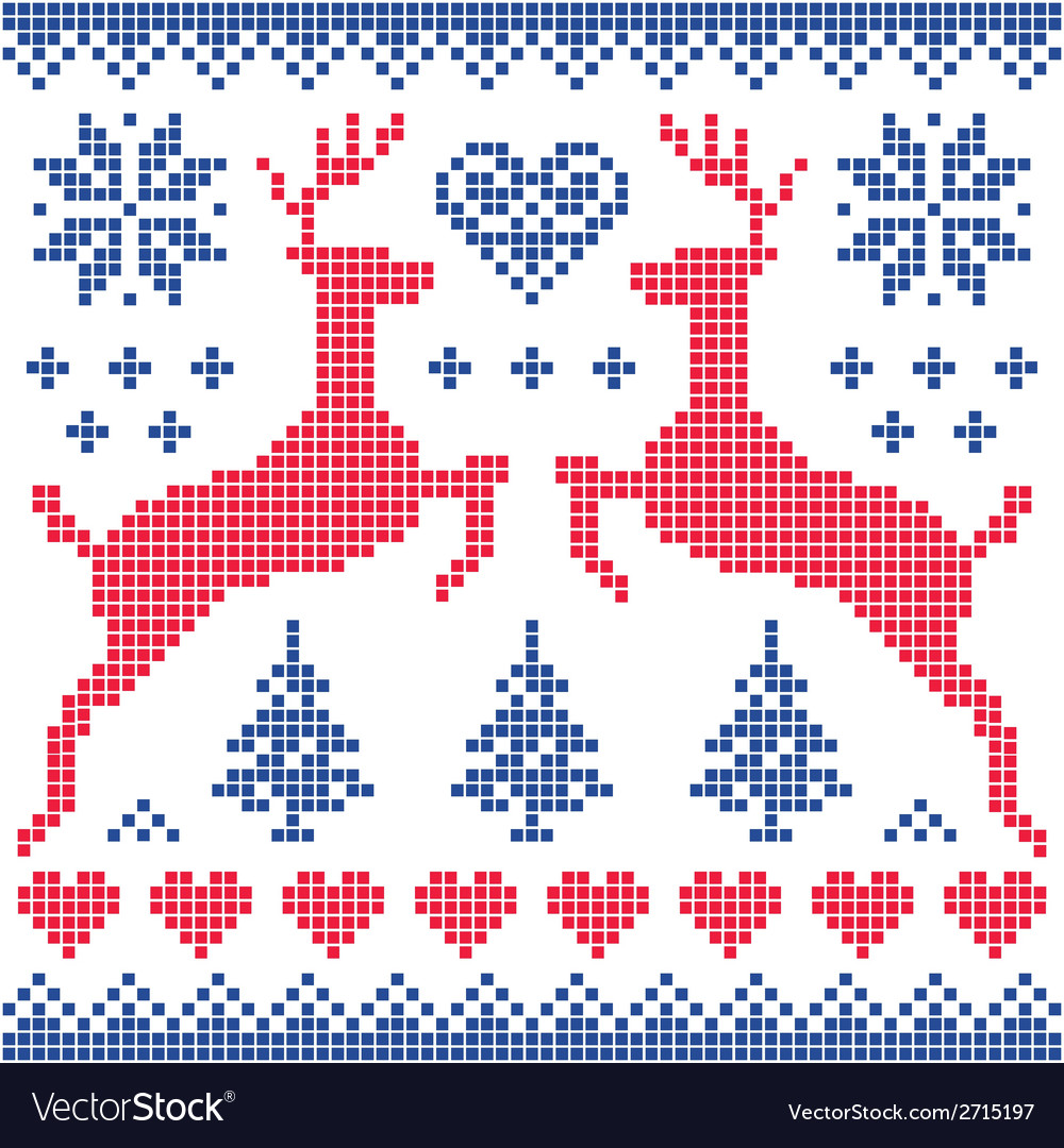 Winter Christmas red and navy pattern card