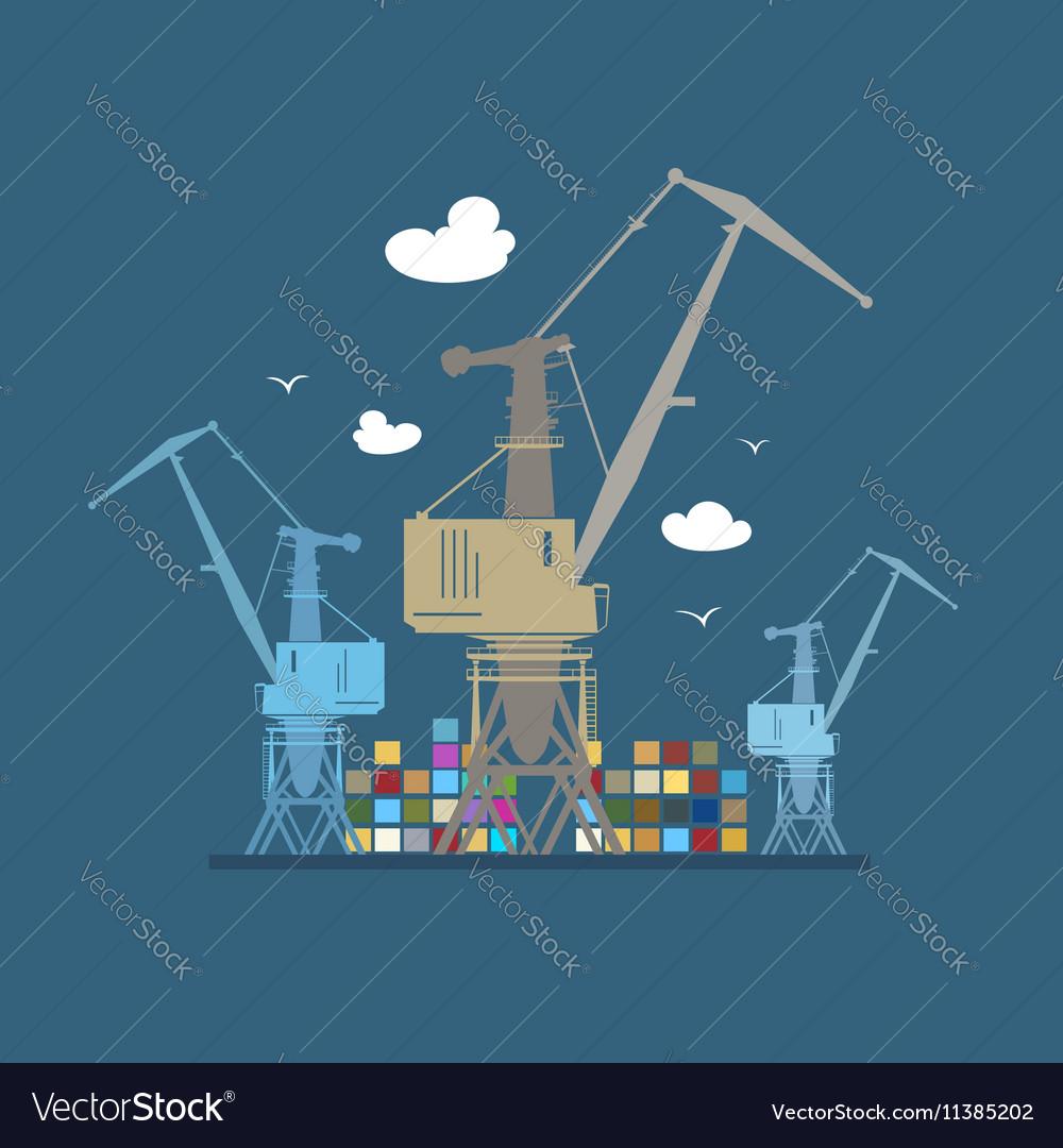 Cargo Cranes at Sea vector image