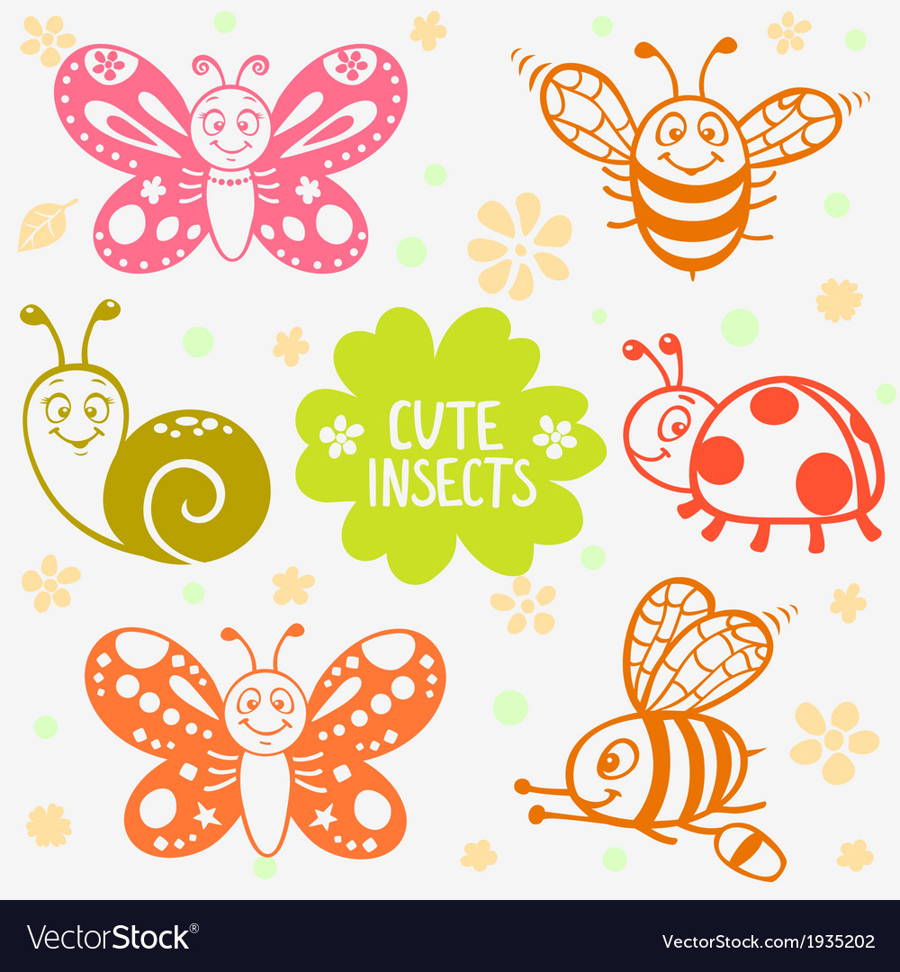 Cute insects silhouette
