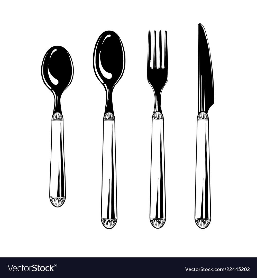 Cutlery set teaspoon spoon fork and knife in
