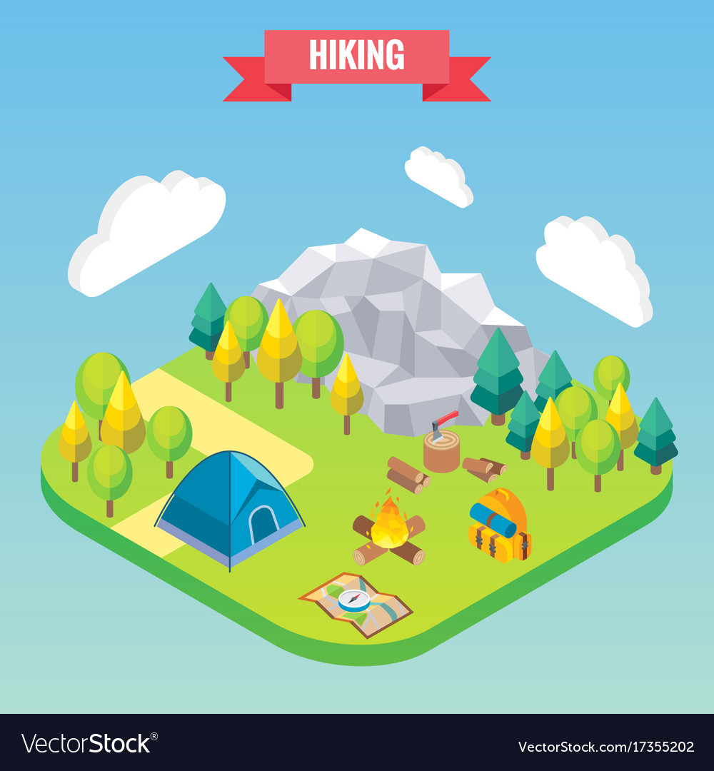 Hiking in mountain forest isometric concept