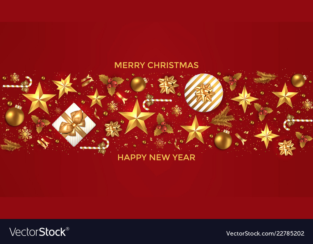 Holiday new year card - 2019 on red background 6