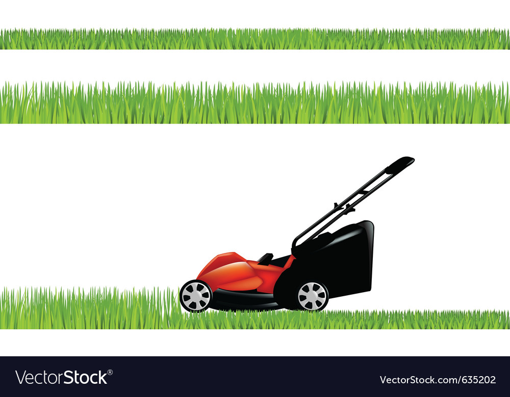 Lawnmower with grass vector image