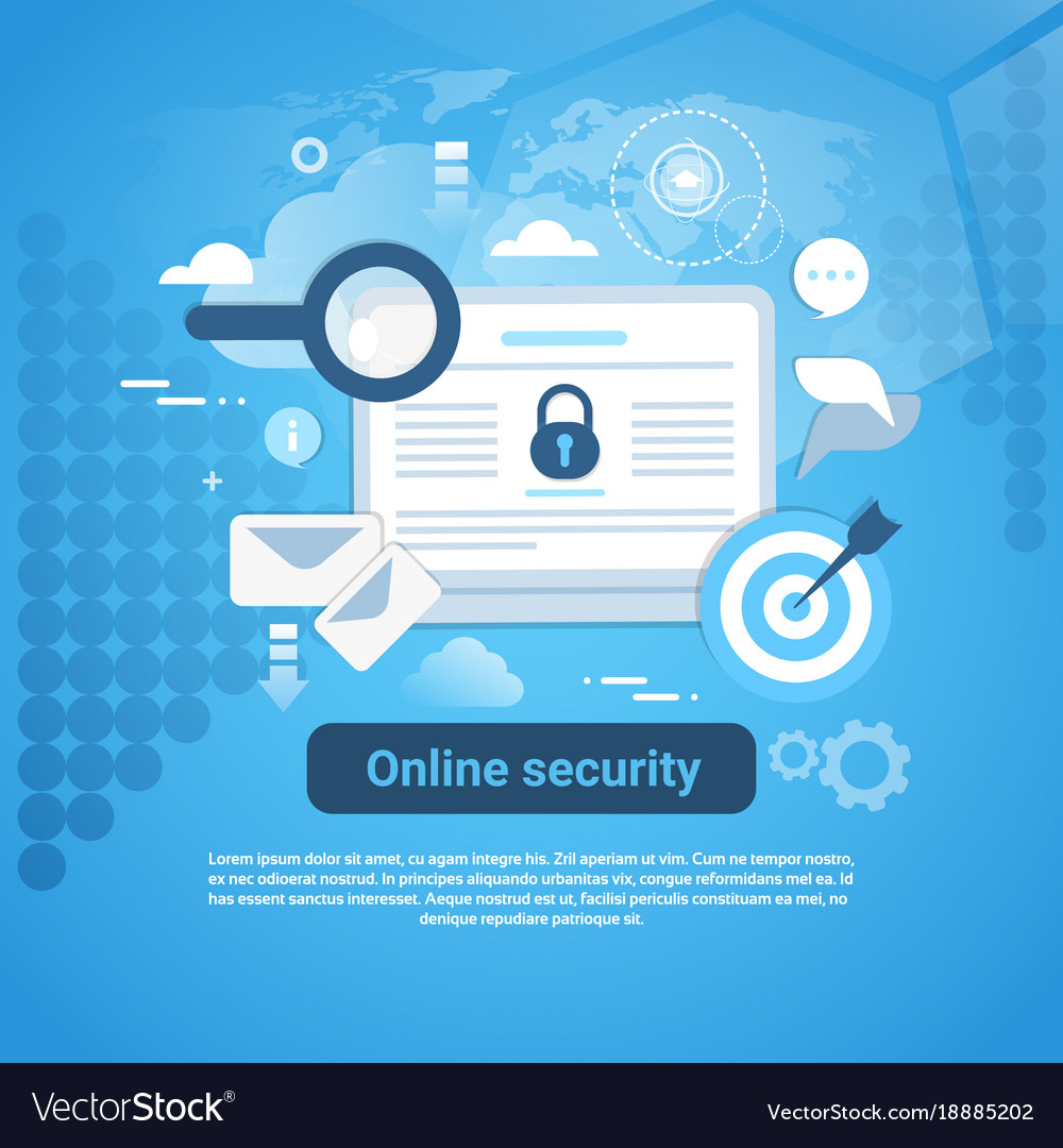 Online security template web banner with copy