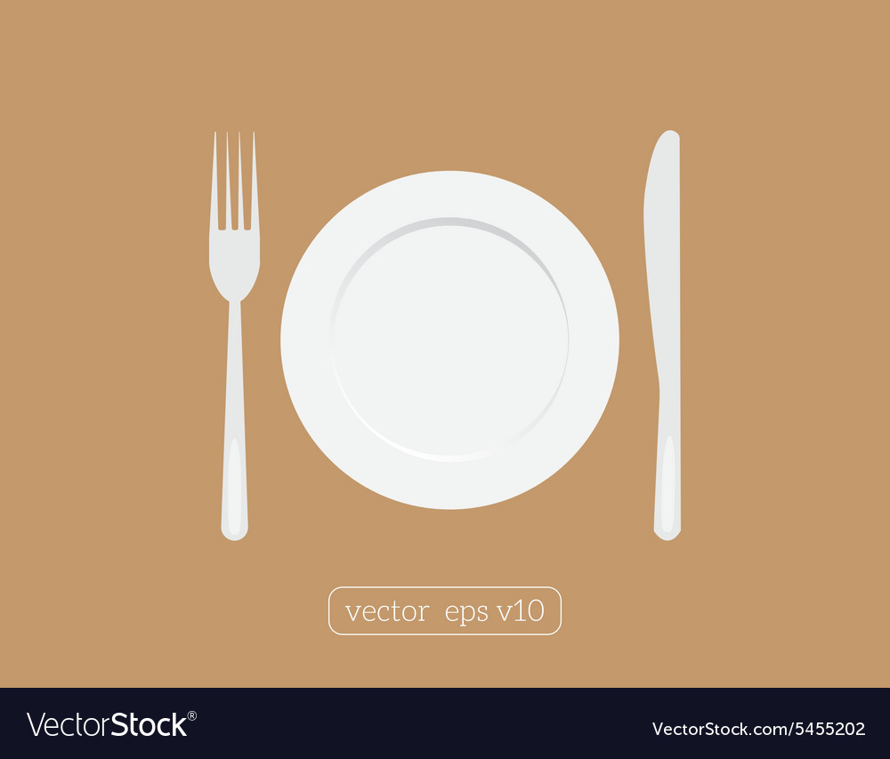 Plate dish with fork and knife Eat sign icon