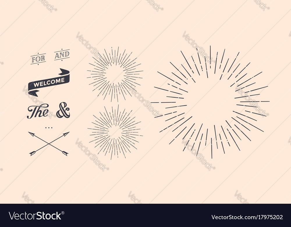 Set of sunburst vintage graphic elements
