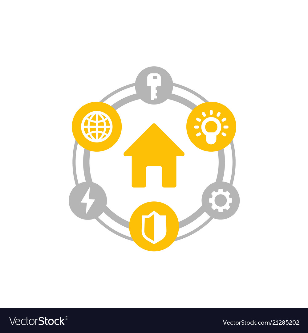 Smart house icon on white
