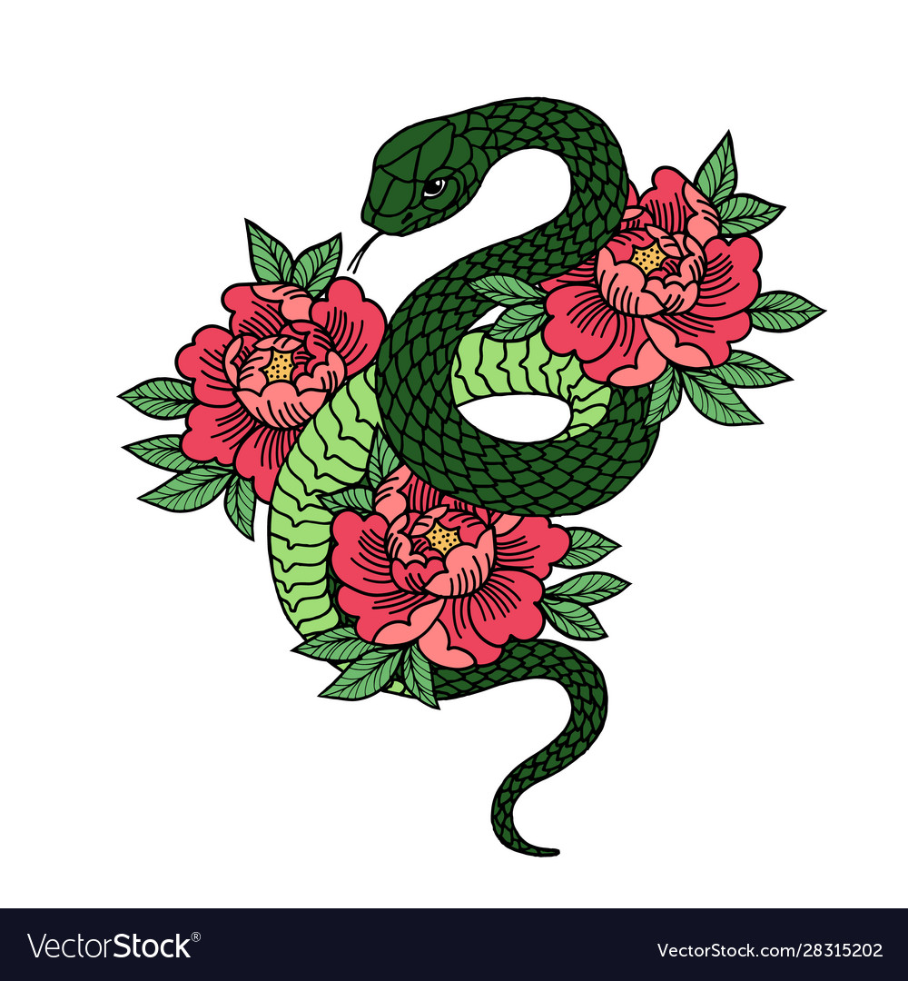 Tattoo with rose and snake with sacred geometry