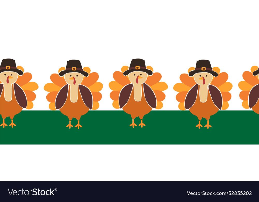 Turkey seamless border cute thanksgiving