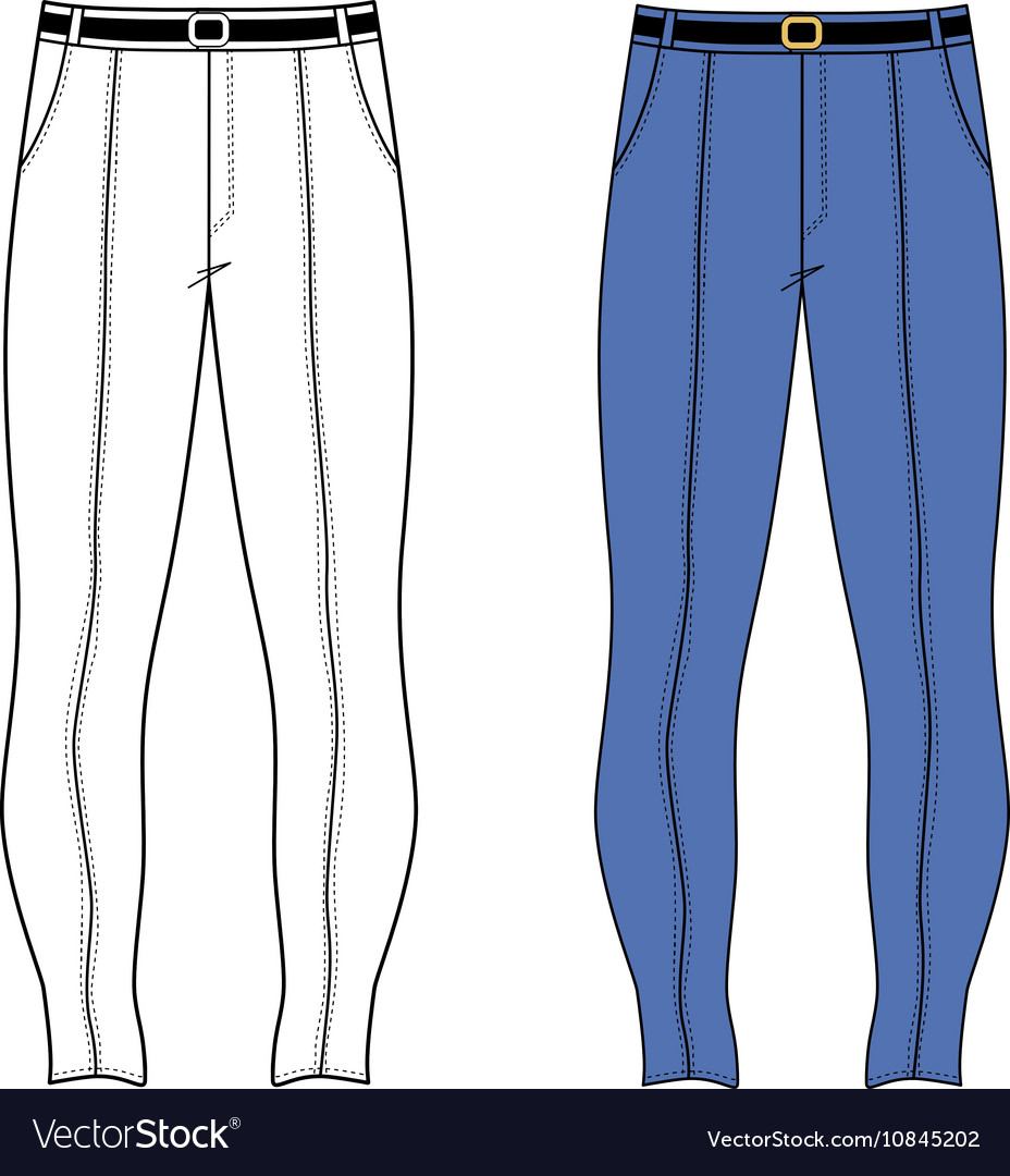 unisex outlined template skinny jeans royalty free vector