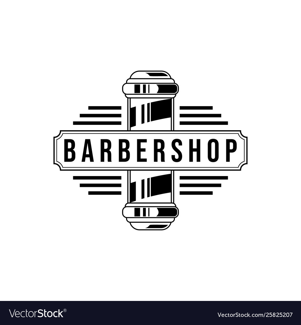 Barber shop vintage logo isolated on a white