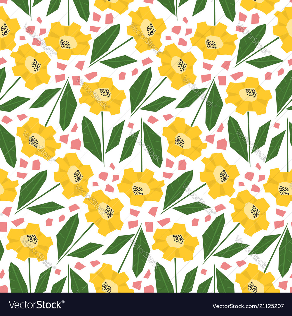 Bright pattern with cute yellow sunflowers