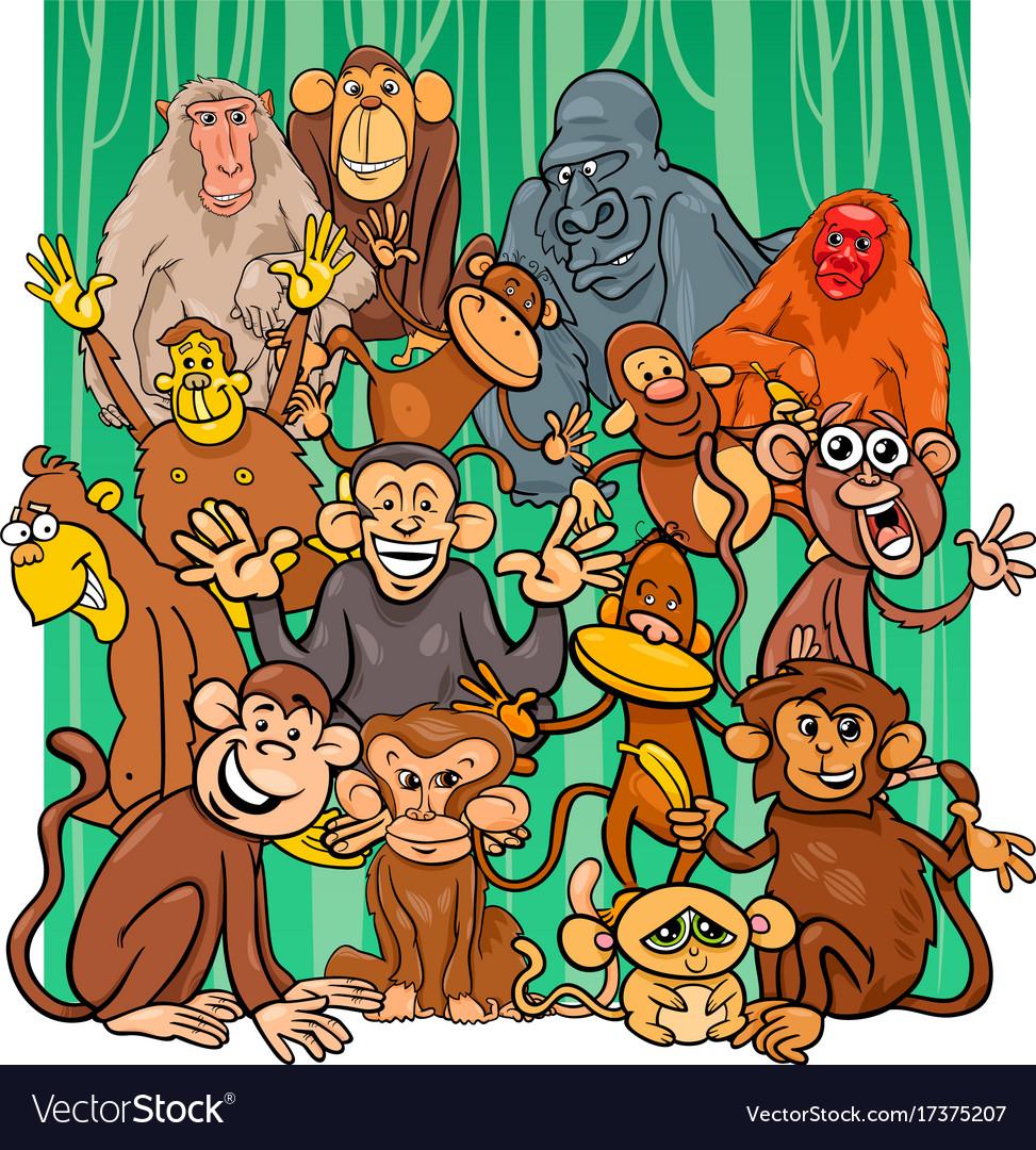 Cartoon monkey characters group