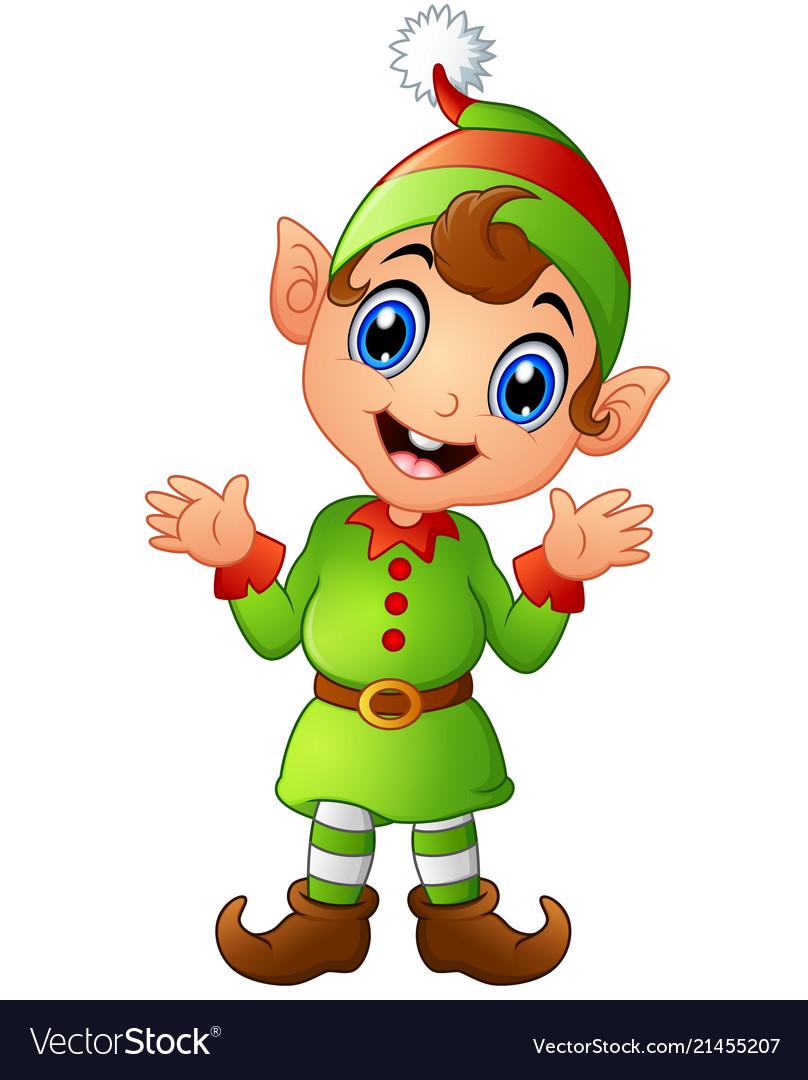 Christmas elf cartoon Royalty Free Vector Image