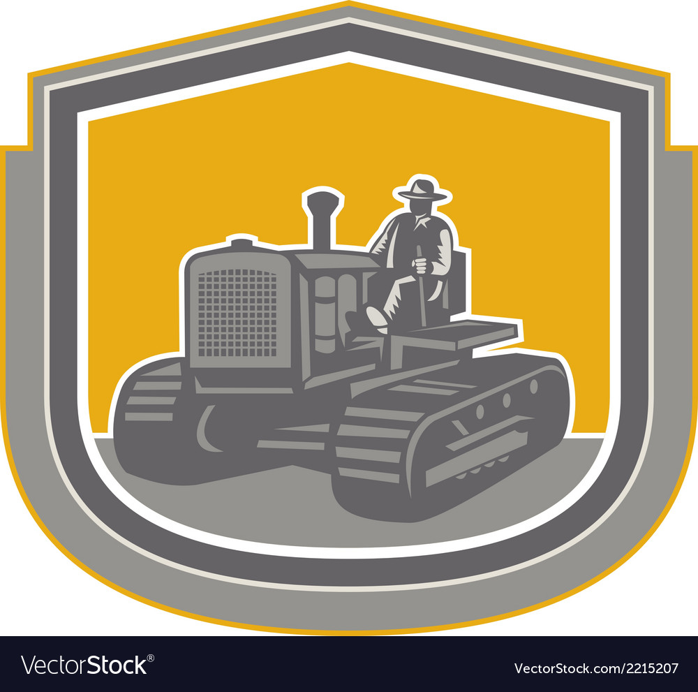 Farmer Driving Tractor Plowing Farm Shield Retro Vector Image