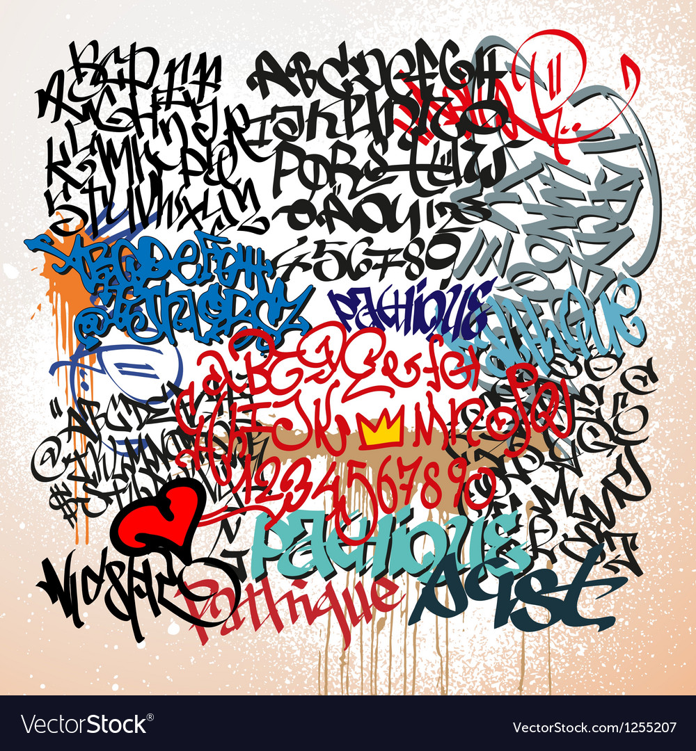 Graffiti tags street art background vector image