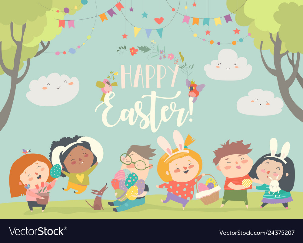 Happy children celebrating easter in the forest