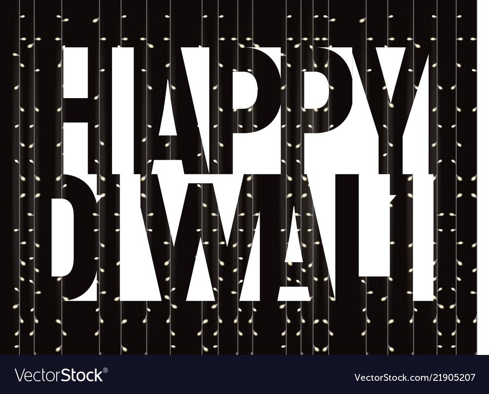 Happy diwali banner white text on black
