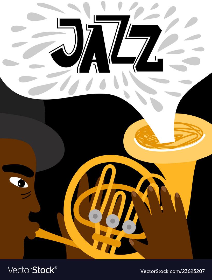 Jazz man african playing trumpet of banner
