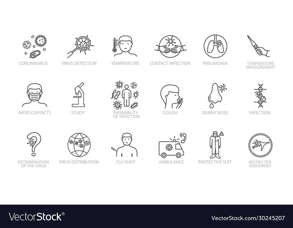 Large assortment coronavirus sketched icons