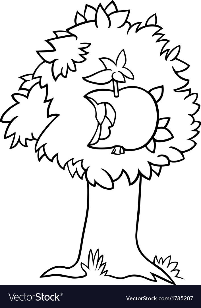 Nibbled Apple On Tree Coloring Page Royalty Free Vector