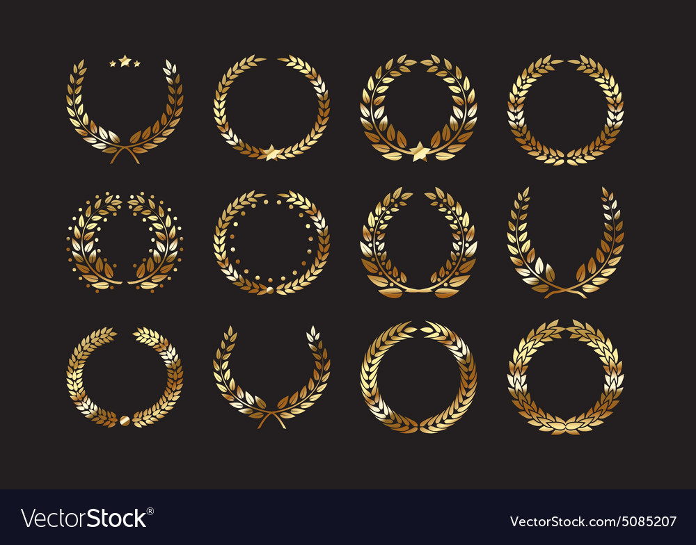 Set of gold award laurel wreaths and branches vector image