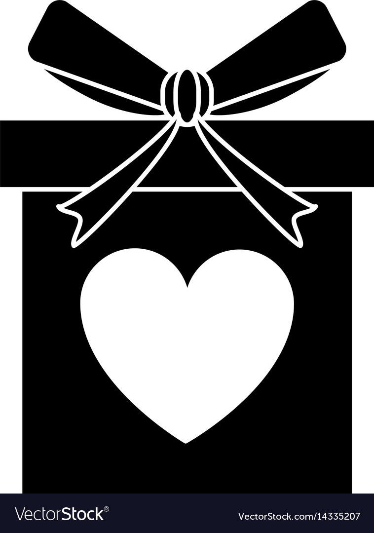 Silhouette Love Gift Box Bow Wrapped Royalty Free Vector