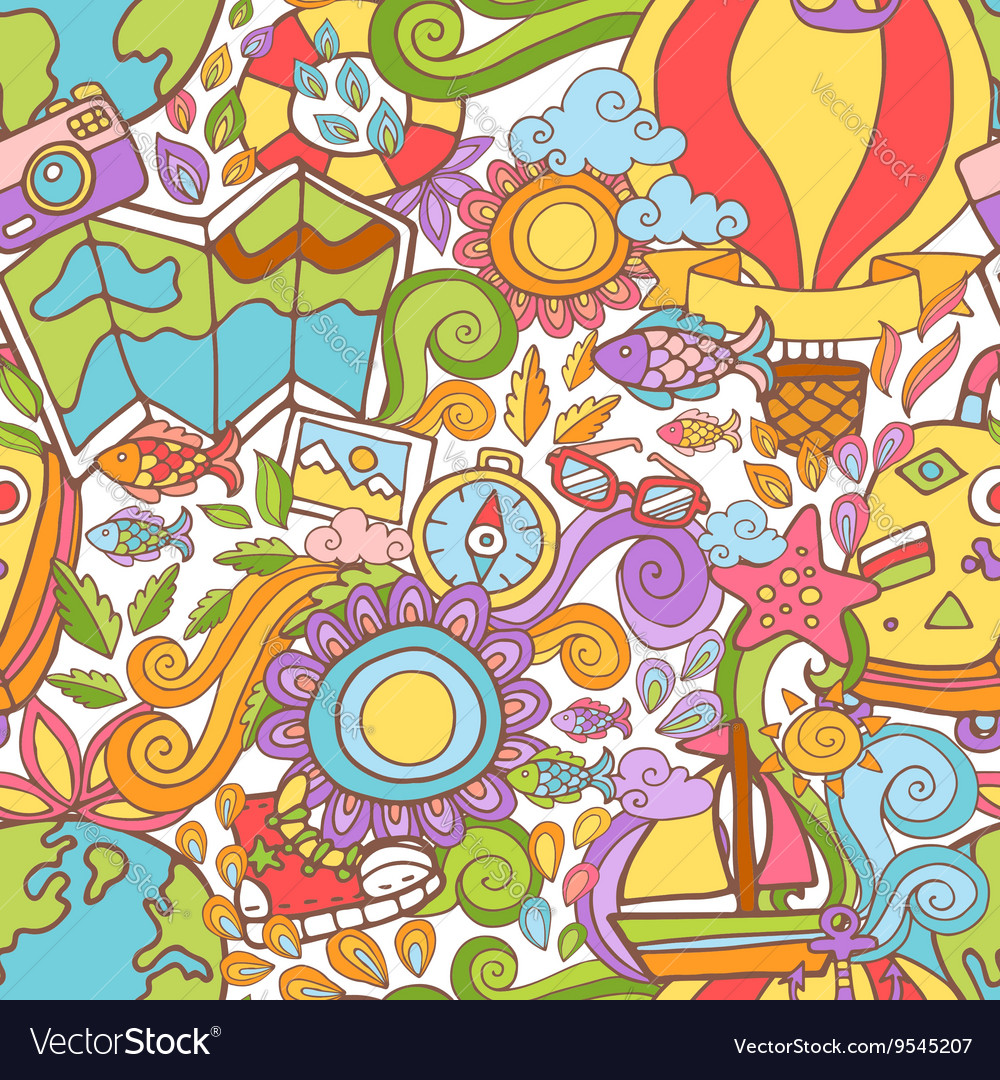 Travel summer seamless pattern in doodle style