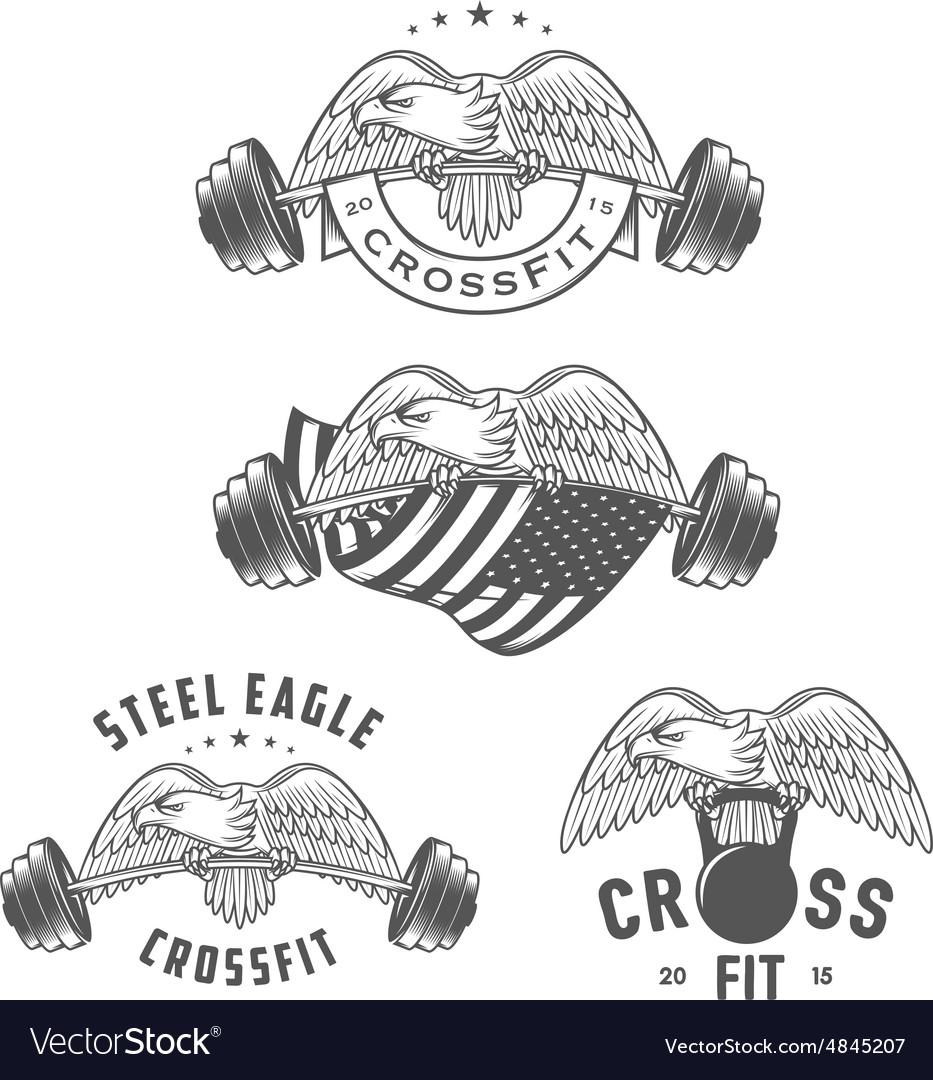 Vintage crossfit emblems and design elements vector image