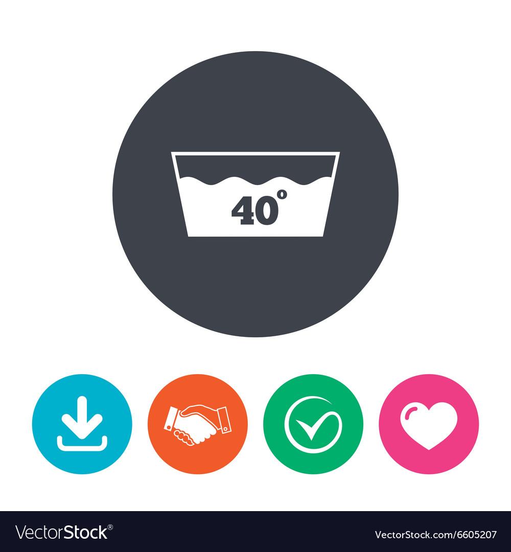 Wash icon Machine washable at 40 degrees symbol