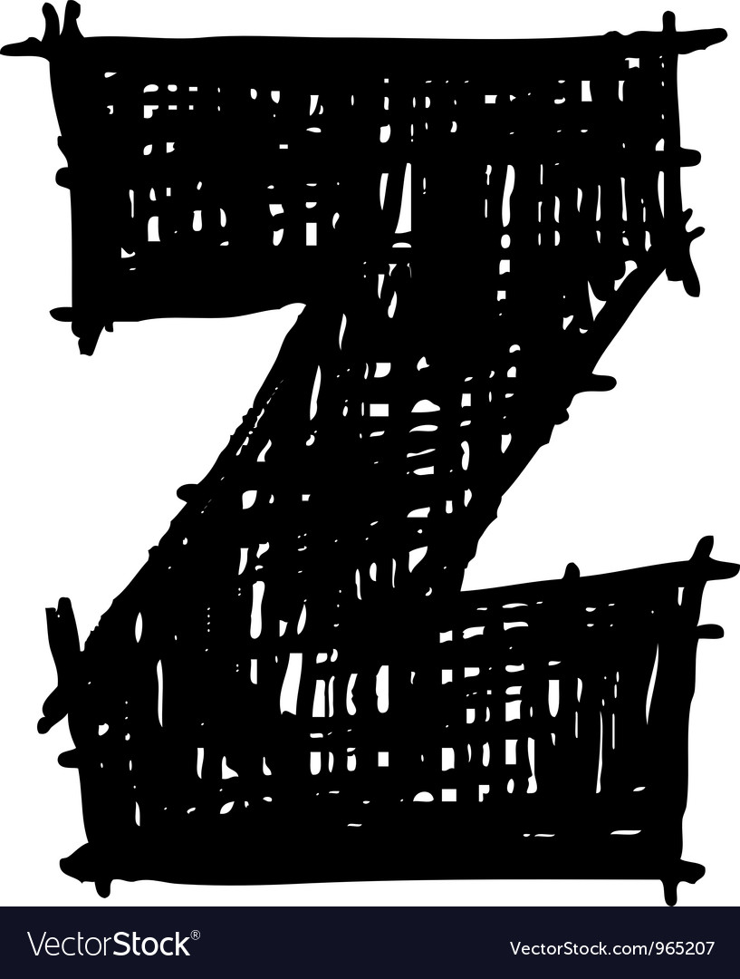 Z - hand drawn character sketch font