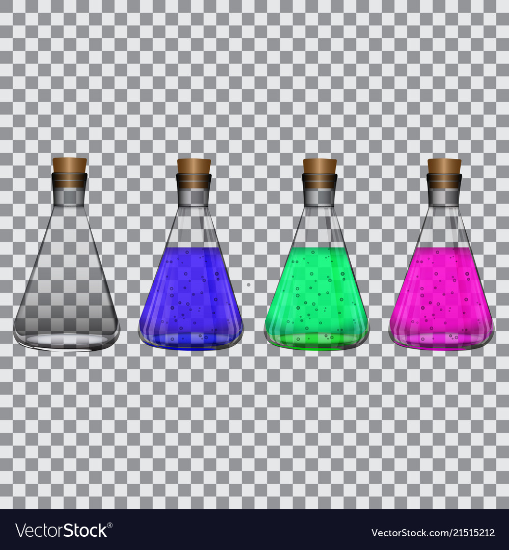 Chemical flasks with reagents on a transparent