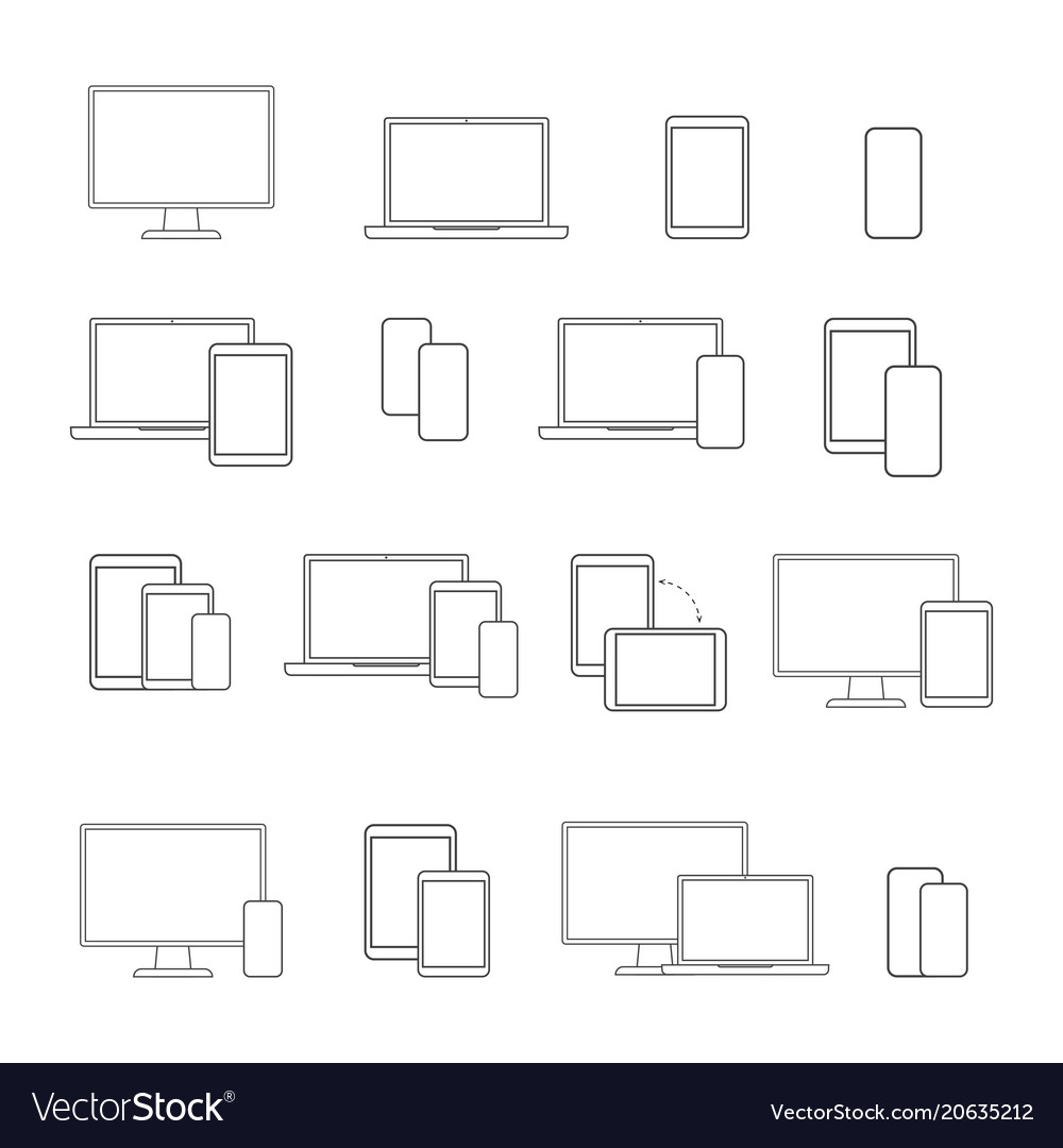 Digital devices line icon set on white background