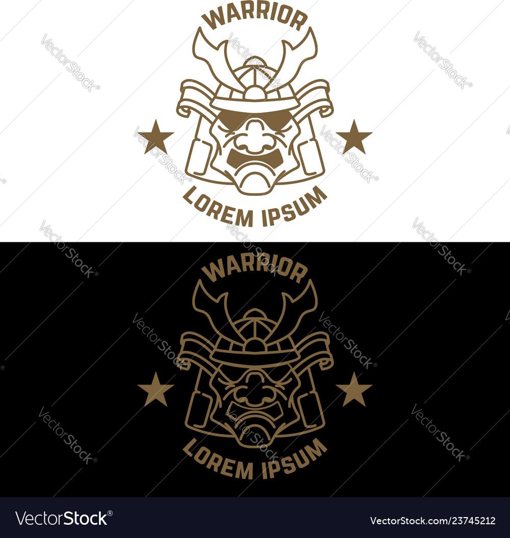 Emblem template with samurai helmet in line style