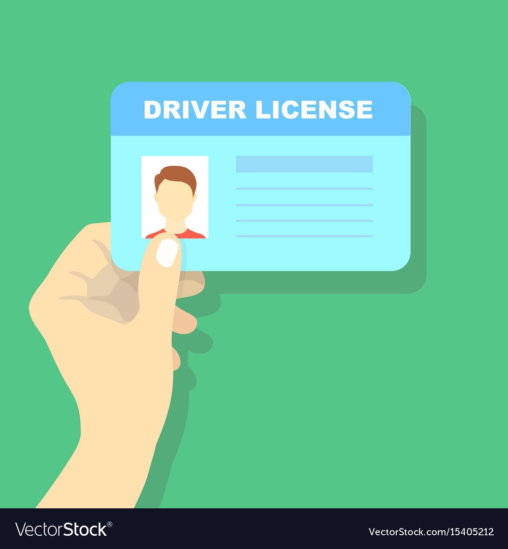 Hand holding car driving licence id card