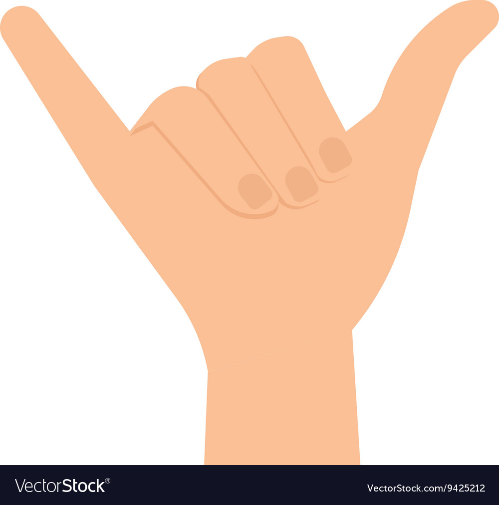 Human Hand in Shaka Sign vector image
