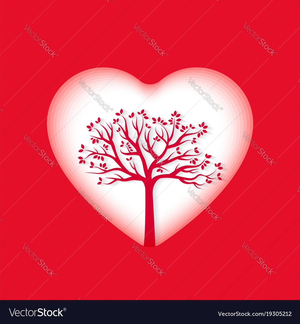 Paper art of heart and tree