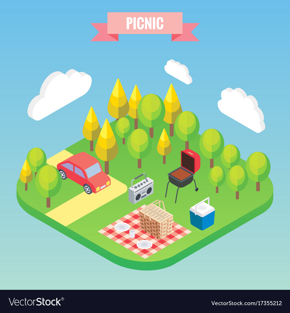 Picnic in a park isometric objects