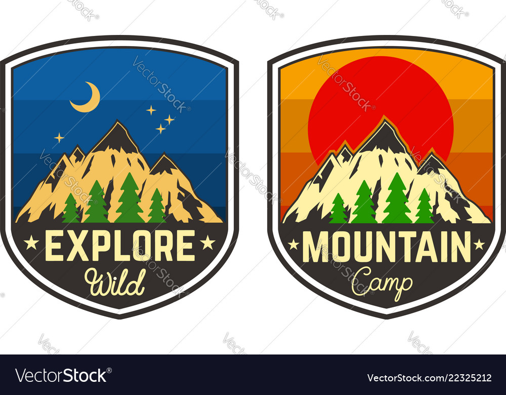 Set of mountain camping emblems design element