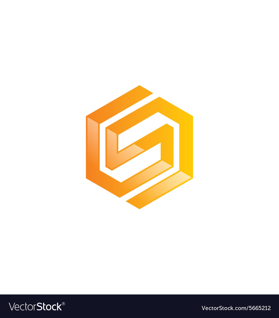 Shape letter S geometry abstract logo vector image