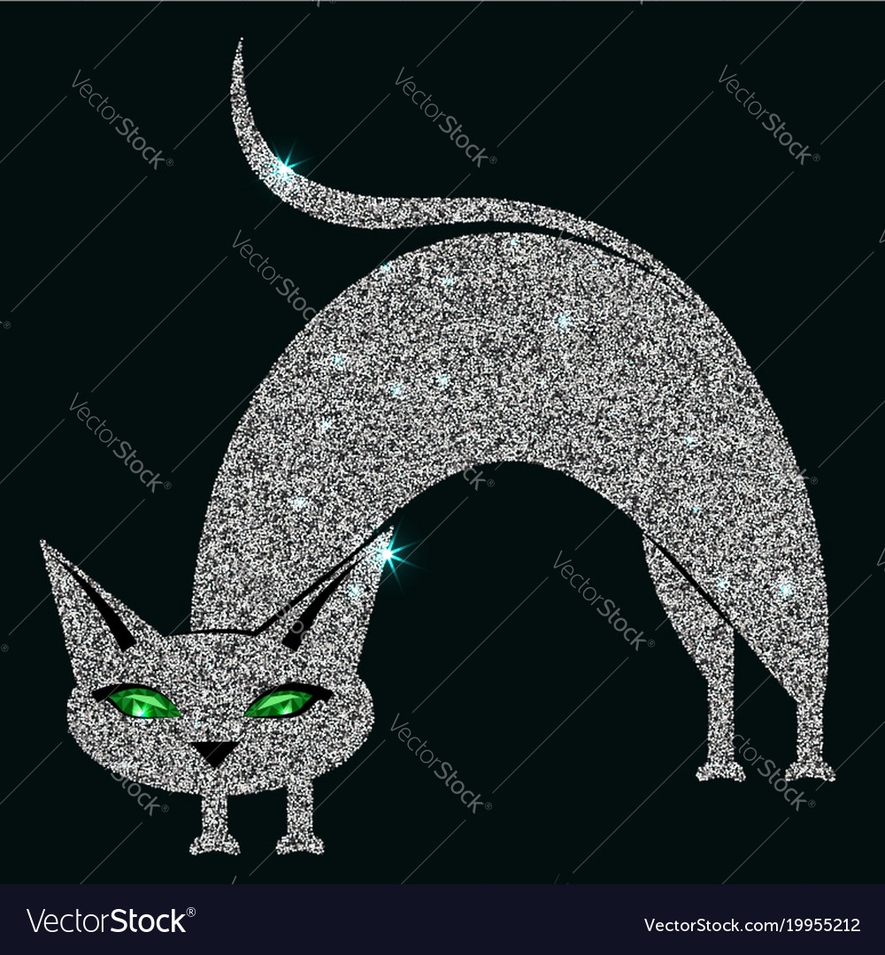 Silver cat with green eyes