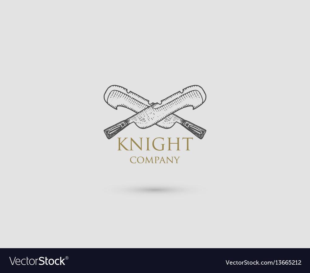 Swords logo medieval knight dagger antique