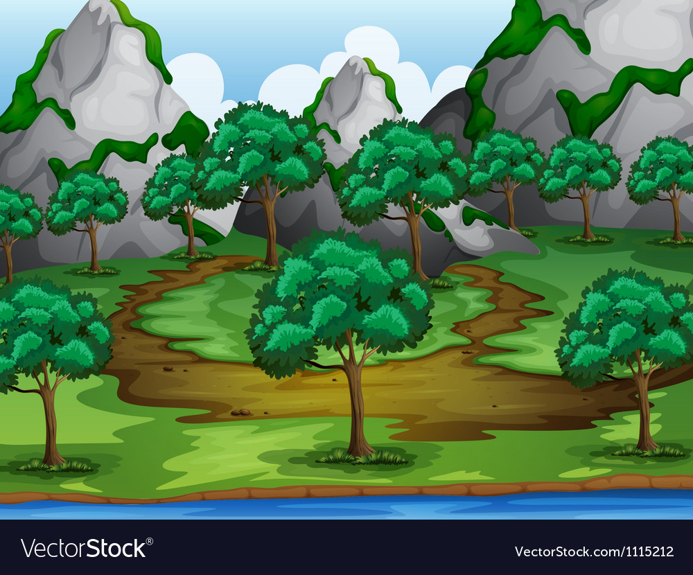 Trees and moutains vector image