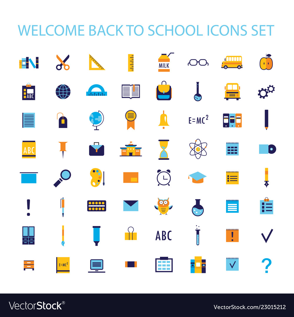 Welcome Back To School Icon Set Royalty Free Vector Image